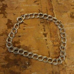 Vintage sterling silver charm bracelet double link